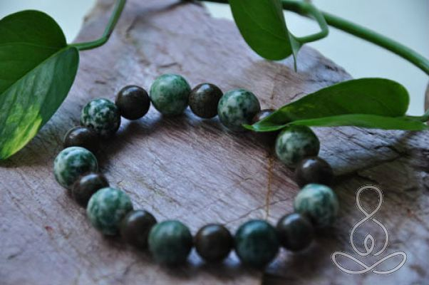 In the Woods Bracelet Green Forest Jasper Stretch