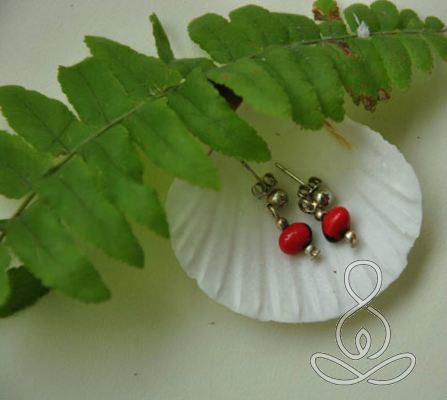 Ladybug Earrings Red Black Peru Seed Bead Stud