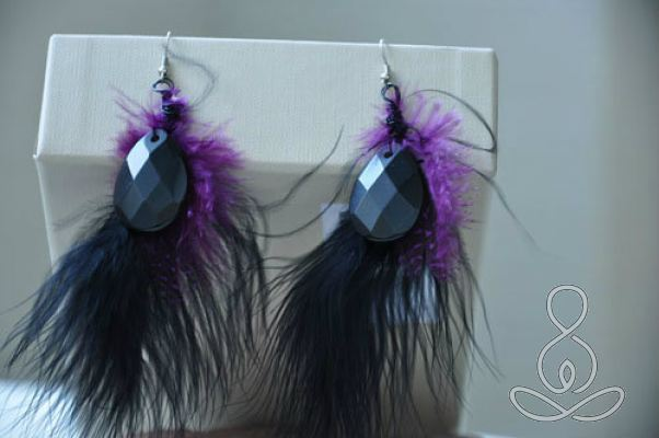 Royal Maribou Earrings Obsidian Black Purple Feather