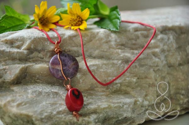 Freedom Necklace Purple Lepidolite Red Coral