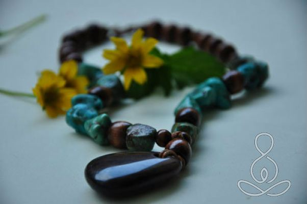 Turquoise Earth Necklace Tiger Eye Brown
