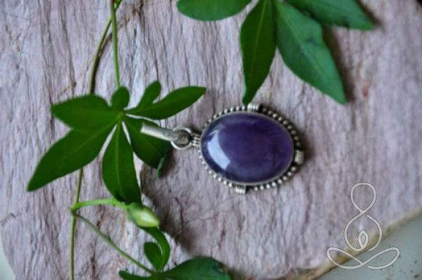 Amethyst Pendant 1.8'' Purple Crystal Sterling Silver