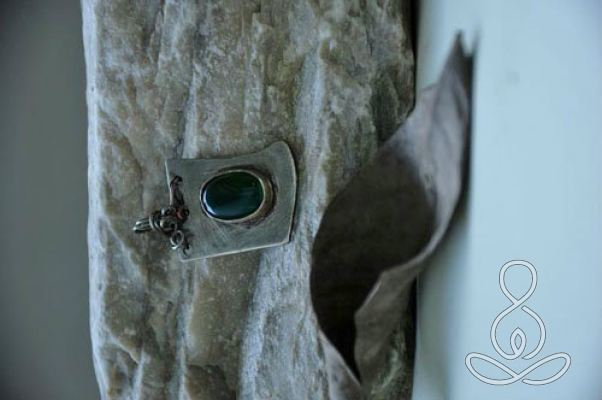 Chalcedony Silver Pendant Green Sterling