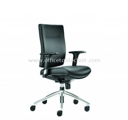 BRABUSS EXECUTIVE LOW BACK LEATHER CHAIR C/W ALUMINIUM BASE BR-3L