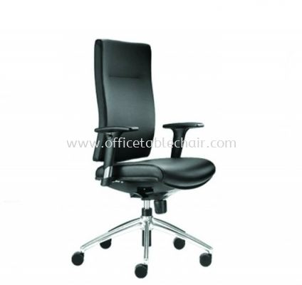 BRABUSS EXECUTIVE MEDIUM BACK LEATHER CHAIR C/W ALUMINIUM BASE BR-2L