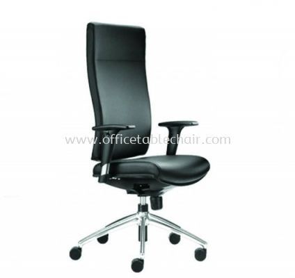 BRABUSS EXECUTIVE HIGH BACK LEATHER CHAIR C/W ALUMINIUM DIE-CAST BASE BR-1L