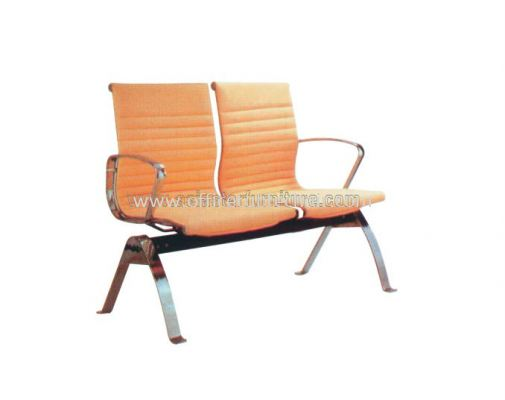 SEFINA TWO SEATER LINK CHAIR UPHOLSTERY WITH CHROME BODY FRAME