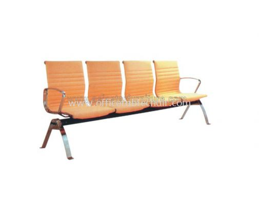 SEFINA FOUR SEATER LINK CHAIR UPHOLSTERY WITH CHROME BODY FRAME