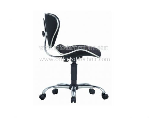 SILVY SECRETARIAL LOW BACK CHAIR WITHOUT ARMREST C/W CHROME TRIMMING LINE ACL 383