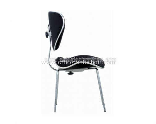 SILVY SECRETARIAL VISITOR CHAIR WITHOUT ARMREST C/W CHROME TRIMMING LINE ACL 373