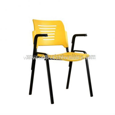 AEXIS PP CHAIR C/W ARMREST & 4 LEGGED EPOXY BLACK METAL BASE ACL 56-(A05)