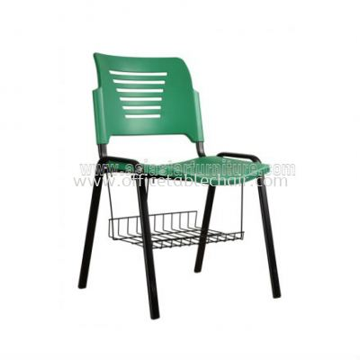 AEXIS PP CHAIR C/W BASKET & 4 LEGGED EPOXY BLACK METAL BASE ACL 56-(+BK)