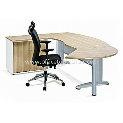 EXECUTIVE TABLE D-SHAPE CURVE METAL J-LEG C/W STEEL MODESTAY WITH SIDE CABINET & SIDE DISCUSSION TABLE BMB55 (INNER)
