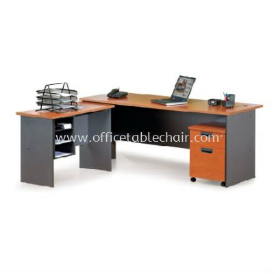 RECTANGULAR WRITING TABLE WOODEN BASE C/W SIDE TABLE & MOBILE PEDESTAL 1D1F GENERAL SET