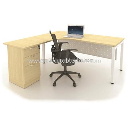 L-SHAPE TABLE METAL N-LEG C/W STEEL MODESTY PANEL & FIXED PEDESTAL 3D MUMF-5656