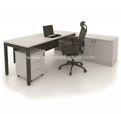 DIRECTOR TABLE METAL N-LEG C/W STEEL MODESTY PANEL WITH SIDE CABINET & MOBILE PEDESTAL 3D MU 99G