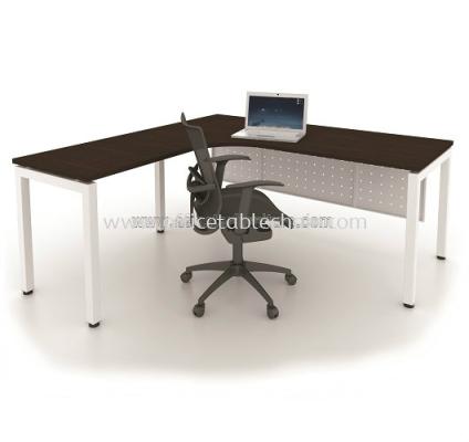 MUKI L-SHAPE OFFICE TABLE METAL N-LEG C/W STEEL MODESTY PANEL MUML-5656