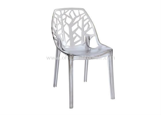 CAFETERIA PC TRANSPARENT GLASS CHAIR AS HH 609