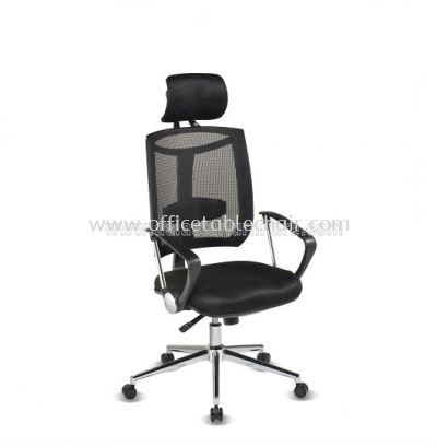 JENKAL HIGH BACK MESH CHAIR WITH CHROME BASE & BACK SUPPORT AJK-C1