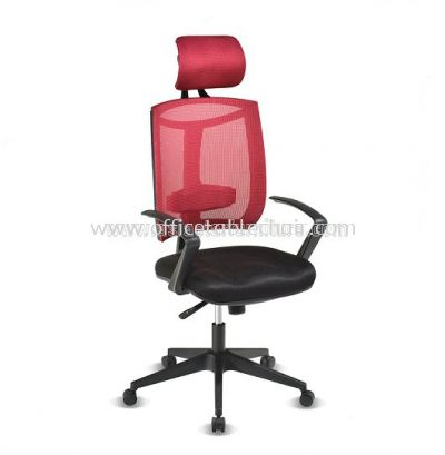 JENKAL HIGH BACK MESH CHAIR WITH PP BASE & BACK SUPPORT AJK-N1