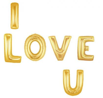 Foil Balloon/I LOVE YOU/Gold-1261