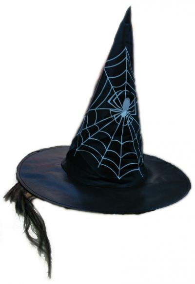 Witch Hat with Hair Spider Pattern