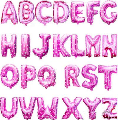 Foil Balloon / Alphabet / Pink with Heart Shape Pattern-2116 0101