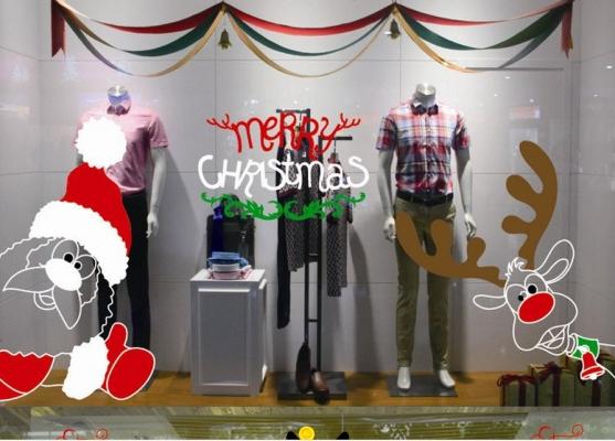 Christmas Decoration Sticker - Santa and Elk HL15007 - 2330 4607 24