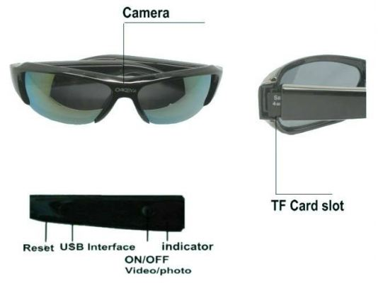 HD 720P Sunglasses Camera DVR