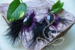 Royal Maribou Earrings Obsidian Black Purple Feather Earrings Crystals and Gemstones