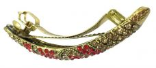 Stylish Colorful Stone Hair Clip (Gold/Red) Hair Clips  Hair Accesories
