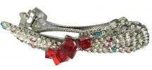 Ribbon Crystal Stone Hair Clip (Silver/Red) Hair Clips  Hair Accesories