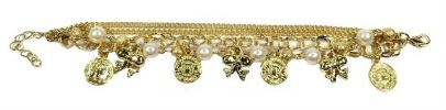 Gold Coin Crystal Bracelet (Gold) Bracelet Jewellery