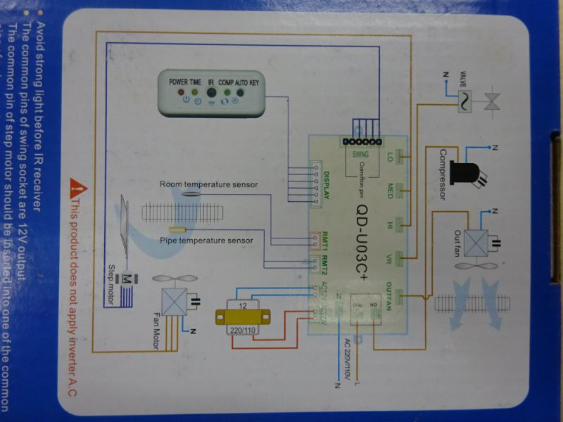 UNIVERSAL PCB (I C BOARD) C/W REMOTE CONTROLLER FOR AIR-COND UNITS