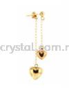 Suasa (Gold Filled), Earring, 3mm Dangle Heart Shape, 1pairs  Earrings Suasa (Gold Filled)