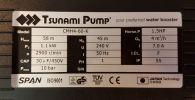 Tsunami Pump CMH4-60-K Durable Water Booster Pump 1.1kw ID30291    Automatic Booster & Pressure Pump (All Brands) Water Pump