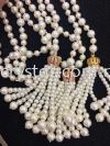 Tassel, Crown Charm & Pearl, Code 04#, White Gold Plated, 2pcs/pkt Tassel  Jewelry Findings, White Gold Plating
