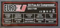 Eurox EAX-7180 2.2HP Silent & Oil-Less Air Compressor ID30560 Europower & Eurox & Robintec  Air Compressor
