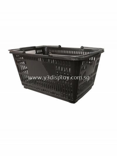 80115-SHOPPING BASKET L-GREY CW METAL HANDLE
