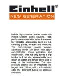 EINHELL HIGH PRESSURE CLEANER-1700W 230V 130 BAR 400L/HR 2800RPM, NHR130