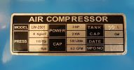 Luowei LD-2540 3hp 50L 8bar Air Compressor ID31178 Tenko / Esko / Fu Sheng   Air Compressor