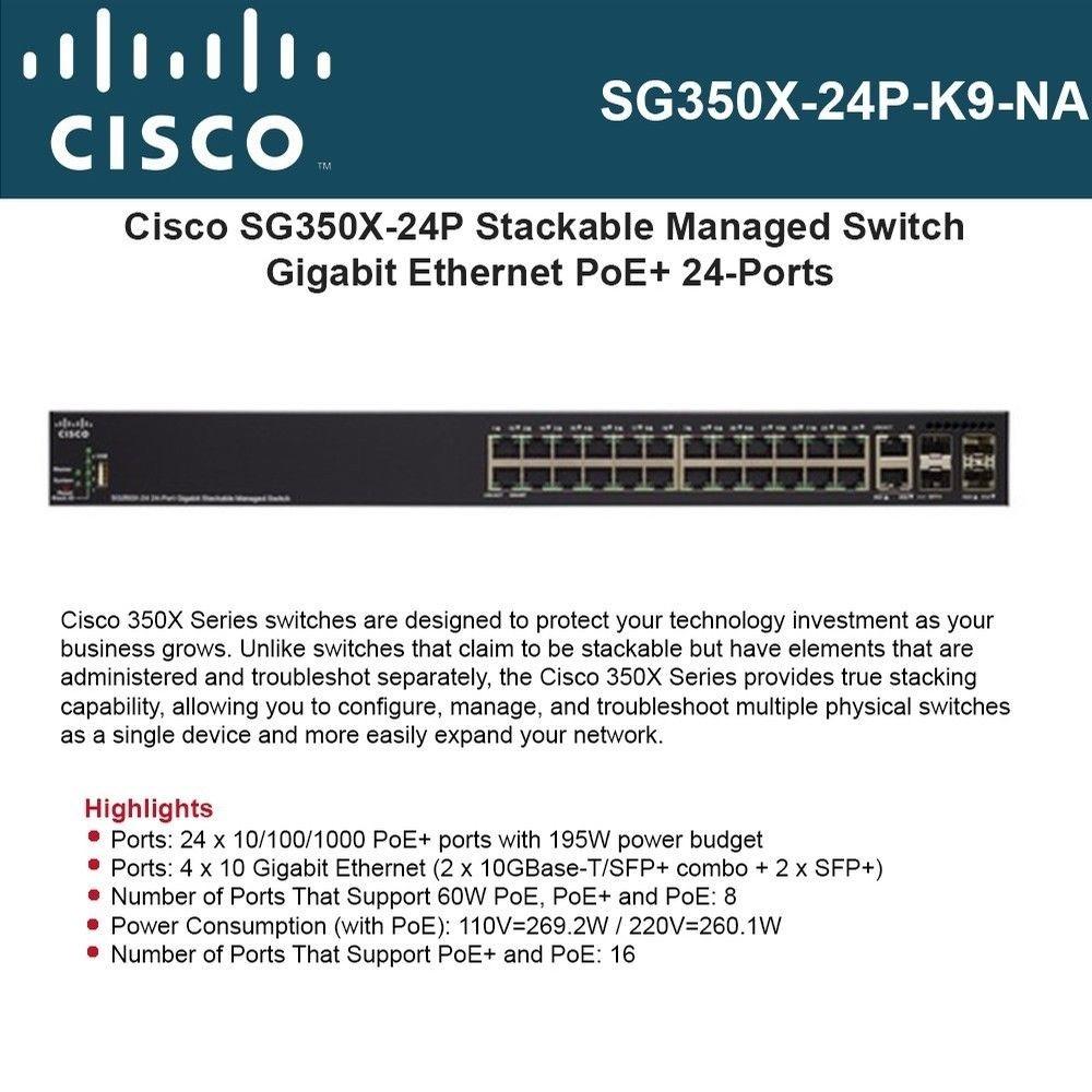 Cisco SG350X-24P-K9-UK: 24-port Gigabit POE Stackable Switch Cisco