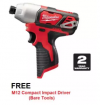 Milwaukee M12 FUEL Cordless Impact Drill & Driver M12 FPD-602C F.O.C. (M12 BID-0 Bare Tools) (Batter MILWAUKEE POWER TOOLS
