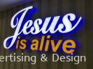 Jesus is alive 3D LED box up - Front lit colour sticker & Back lit blue lighting LED 3D Signage