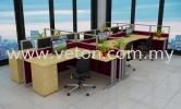 CLUSTER OF 6 VETON BLOCK SYSTEM WORKSTATION OFFICE FURNITURE