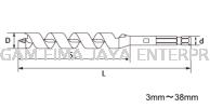 """STAR-M COMBINATION WOOD AUGER BITS N0.6X3/8"""" COMBINATION Auger Mechanics"""