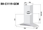 Pre-Order RH-C1119-GCW Cooker Hood Rinnai