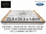 CAFVS40-C - VOLVO S40 '05 / V50 '05 / C30 '08 / C70 '07 / FORD TITANIUM CABIN AIR FILTER ( PC ) ( CARBON ) 307 803 777