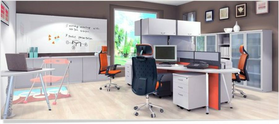 Small Space Office Workstation System (AIM60-C4-1-5-5HES-HT)