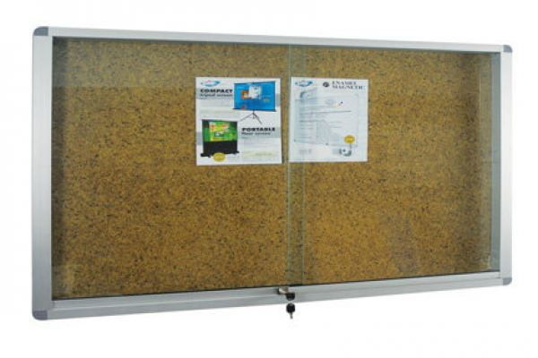 Aluminium Frame Cabinet Notice Board - Stick On Board